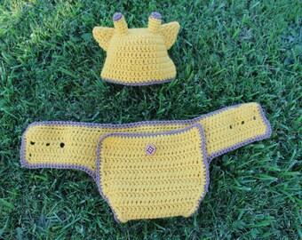 Little Giraffe Safari Baby Beanie and Diaper Cover Set