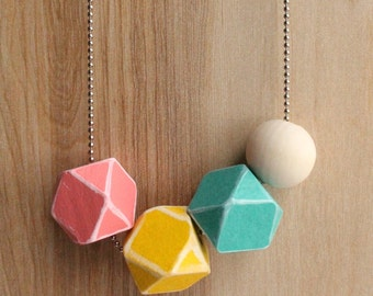 Pastel geometric bead necklace