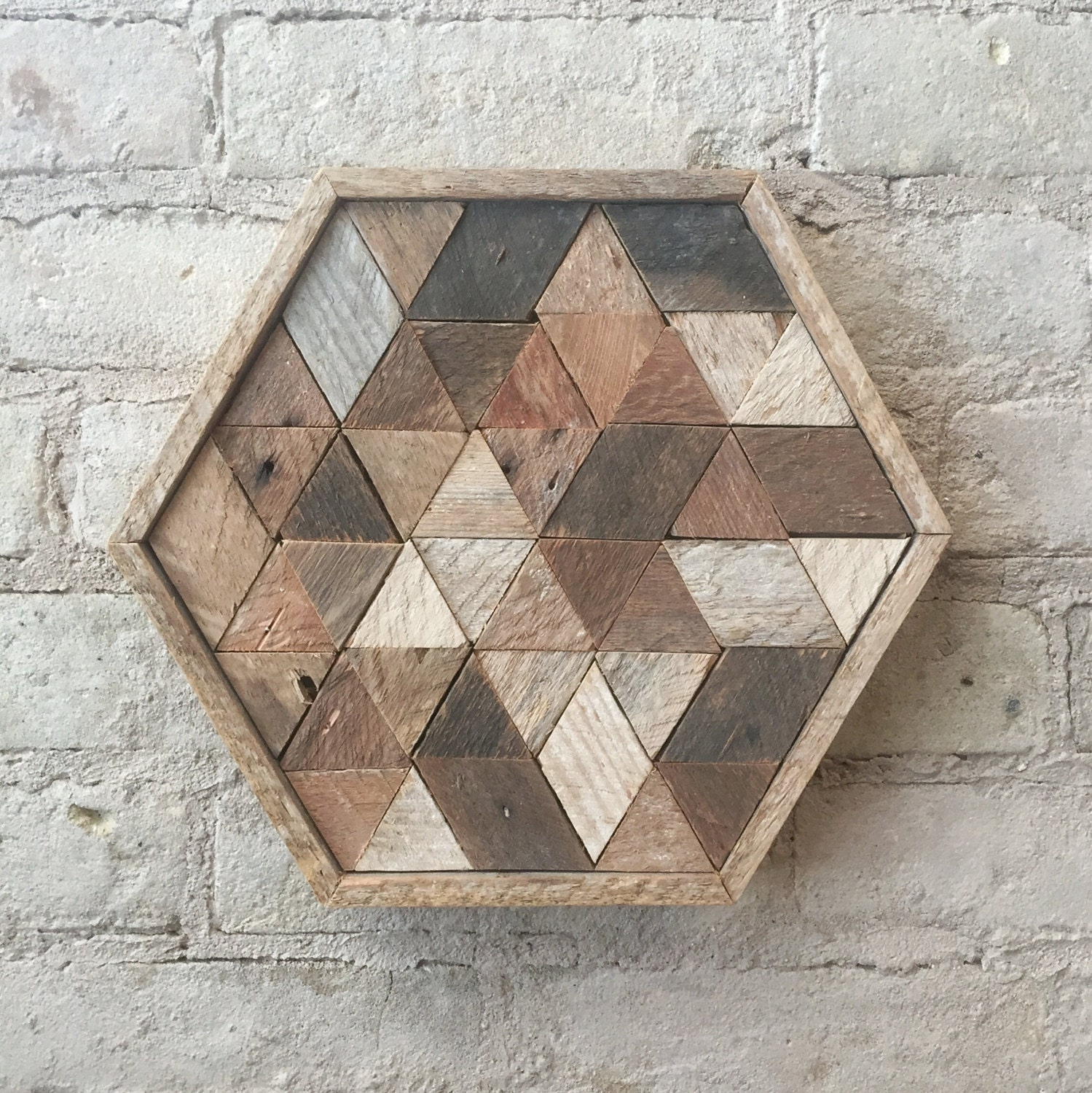 Reclaimed Wood Wall Art Decor or Table Tray Hexagon