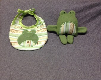 Little Froggy bib and Little Froggy plush toy