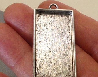 Blank Pendant. 2 pcs Antique Silver Rectangle Pendant Blank 43x24mm. Pendant Setting Blank. Blank Charm. Rectangle Charm. - (2 - 0070F)