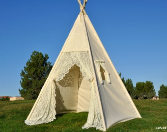 Flora Ivory Lace Canvas Kids Teepee, Kids Play Tent, Childrens Play House, Tipi,Kids Room Decor