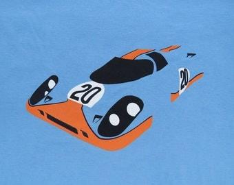 Porsche 917 #20 Gulf Racing Steve McQueen 24 hours of LeMans Hero Car t-shirt