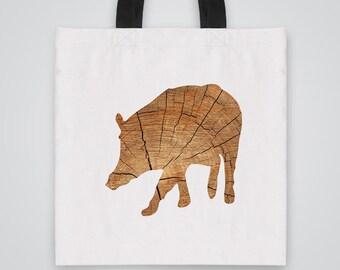 Wood Boar Silhouette Tote Bag - Art Tote - Market Bag - Shoulder Bag - Canvas Bag