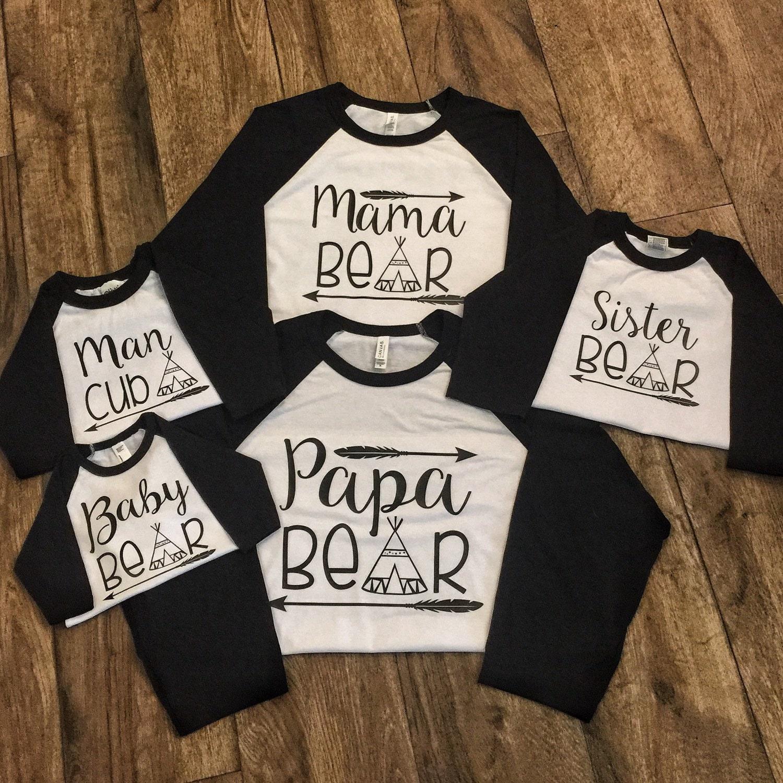 Mama Bear Papa Bear And Baby Bear Matching Family Shirts