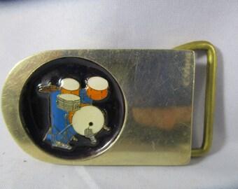 Belt Buckle, Drums,marked solid brass