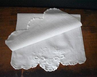 Vintage White Tea Towel - Cottage Linen - Cottage Style - Vintage Linen