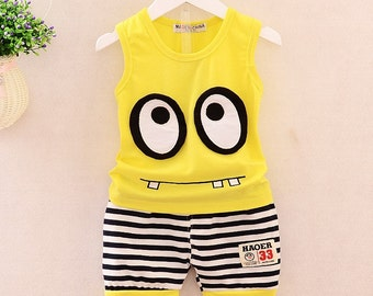 Minion boy stripe Shorts clothes, Summer baby boy clothes set