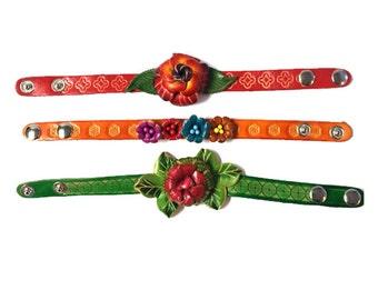 Genuine Leather Bracelet, Flowers Leather Bracelet, HFF142139