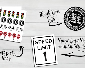 Race Track Themed Party Decor Pack - Sign, Toothpick Flags, & Thank You Tags
