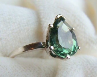 Green Tourmaline Pear Solitaire Ring in Sterling Silver - Gorgeous