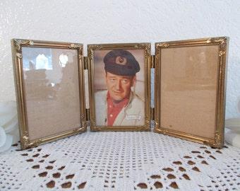 Vintage Ornate Gold Metal Hinged Picture Frame 3 Photo Decoration Mid Century Hollywood Regency John Wayne Home Decor Birthday Gift Him Her