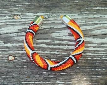 Orange bracelet Bright bracelet Summer bracelet Seed bead bracelet Modern jewelry Tangerine orange Elegant Gift for her Birthday gift