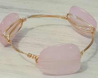 Light Pink Wire Wrapped Bangle
