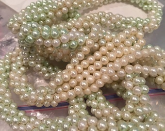 "Faux Pearl 54"" Twisted Eight Strand Lariat Necklace - CA 1940's - Item# NK108"
