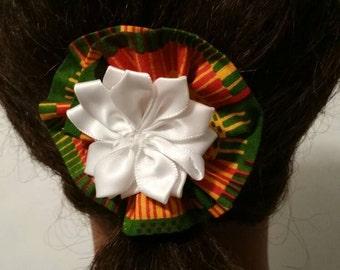 Rose flower african print hair pin