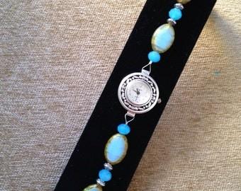 Watch, Watch Bracelet, Blue Glass Bead Watch