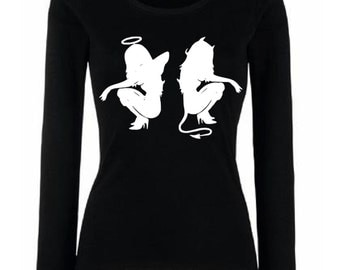 Fun T-Shirt with print Longsleeve with Angel and devil graphic tee XS S M L XL XXL black or white