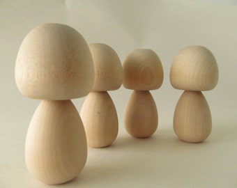 Kokeshi dools - Peg dolls - Unfinished, unpainted, DIY, blank wooden dolls - Lot of 4 - Big Cheeks