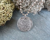 Stone: Aluminum pendant with stone design wabi-sabi necklace on ball chain