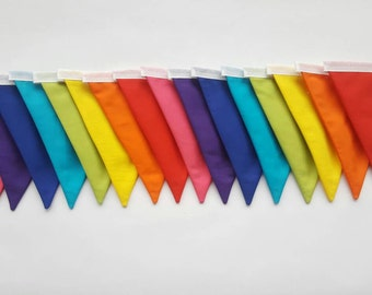 A LONG 8ft, 16 flag Bright Rainbow Fabric Bunting Banner