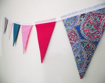 Bright Pink and Blue Fabric Bunting