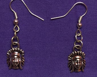 Indian chief Charm Silver Plated Earrings