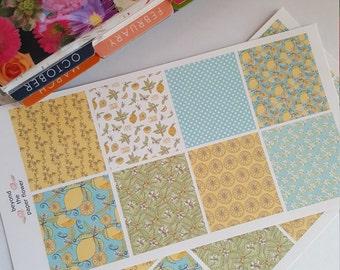 Lemon Print, Vertical, Horizontal, Box Stickers, Planner Stickers