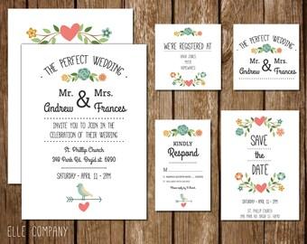 Printable Wedding Invitation Suite - Floral