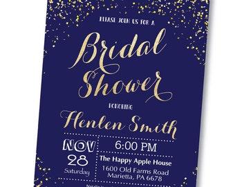 Navy and Gold Bridal Shower Invitation. Gold Glitter. Bridal Brunch. Bridal Luncheon. Wedding Invitation. Printable Digital.