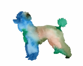 ORIGINAL watercolor painting of a colorful Poodle!