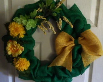Burlap wreath,gift, yellow flowers,all occasion wreath