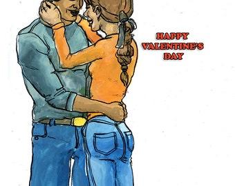 Valentine's couple embracing.