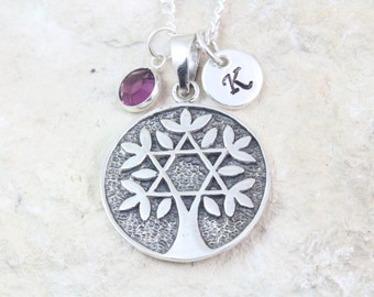 Sterling Silver tree of life Necklace, custom birthstone initial, choose chain, Sterling silver tree of life With star of David