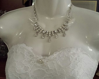 CLEARANCE__Rhinestone Jewelry Set, Wedding Necklace & Earrings Set (JS1004)