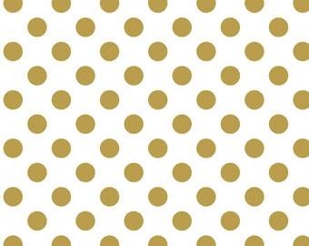 "Gold SPARKLE Polka Dots on White medium 3/4"" Metallic - Riley Blake Designs - Cotton Woven Quilt Fabric - choose your cut"