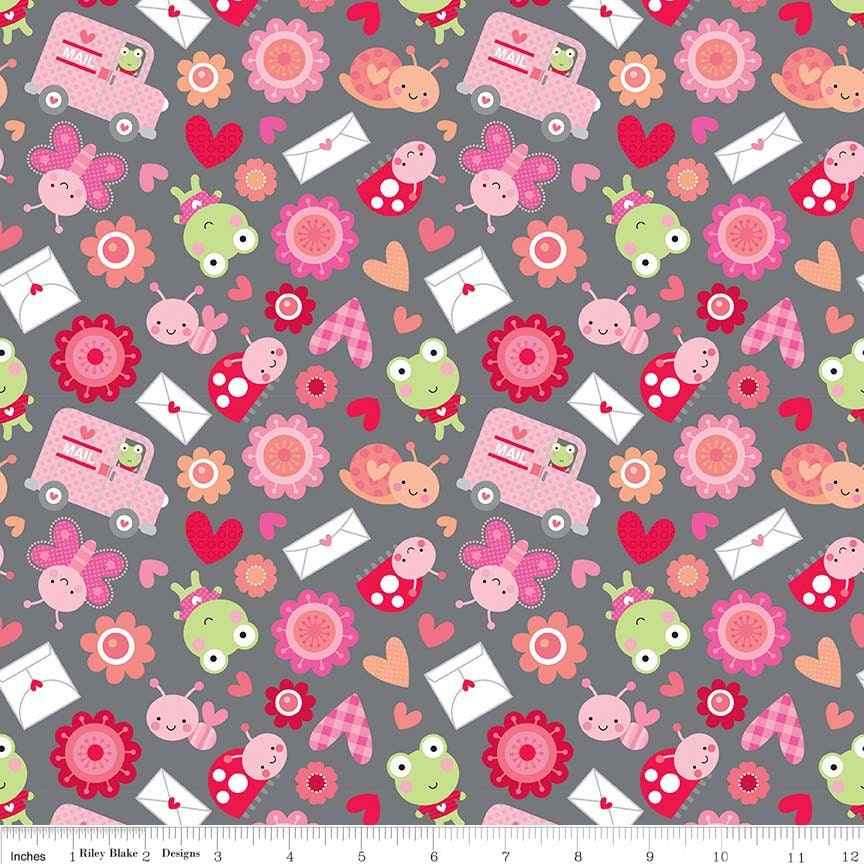 Sale lovebugs collection friends gray riley blake for Quilting fabric sale