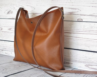 Small cognac leather crossbody bag, real leather, shoulder bag, leather bag