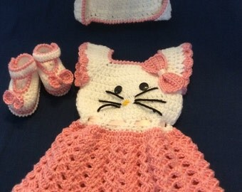 Hello kitty Crochet dress, hat and booties. Beautiful for Spring/Easter