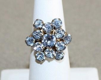Vintage Blue Rhinestone, Adjustable Ring