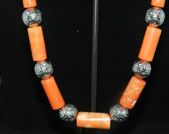 Natural Orange Coral Necklace 20in