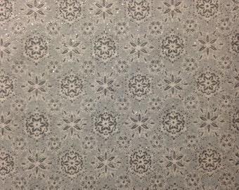 Snowflakes on Grey Background, Glittery