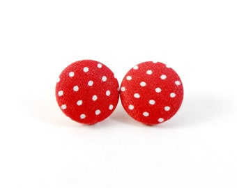 Red Polka Dots, Button Earrings, Studs, Post Earrings, Fabric Button Earrings, Handmade