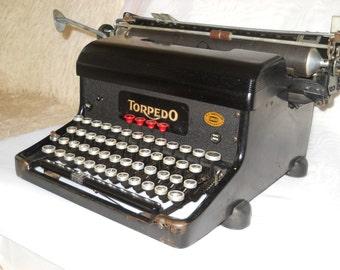 Antique TORPEDO Typewriter, Mechanical typewriter, Vintage typewriter 1940s