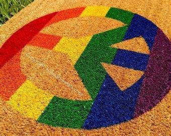 New! Rainbow Peace Sign Custom Handpainted Welcome Doormat