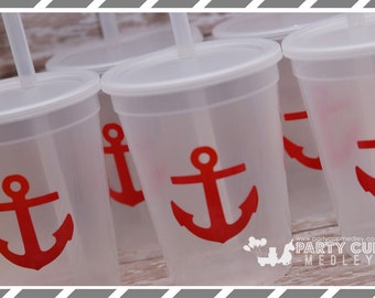 Nautical Birthday Party-Tumbler-1st Birthday Party Cups-Anchor Cup-Child's Cup