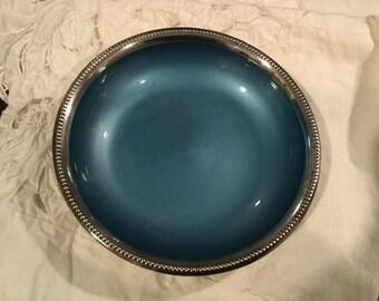 Vintage W & S Blackinton Fine Silverplate Enamel Bowl Dish Light Blue No 700
