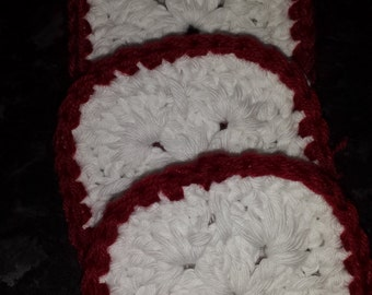 A set of 4 square crochet coasters