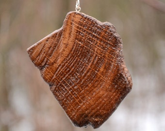 Wood pendant, Wood necklace, Oak tree necklace, Nature necklace, Reclaimed oak tree necklace, Natural wood necklace, Oak pendant.
