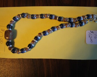 Brown,black and silver necklace